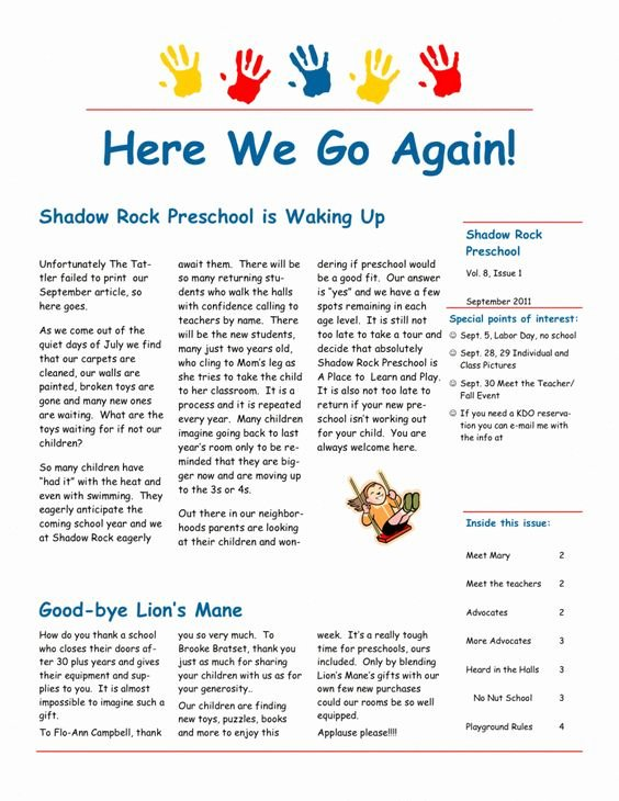 September Preschool Newsletter Template Ece