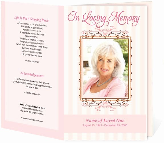 Seraphina Preprinted Title Letter Single Funeral Programs