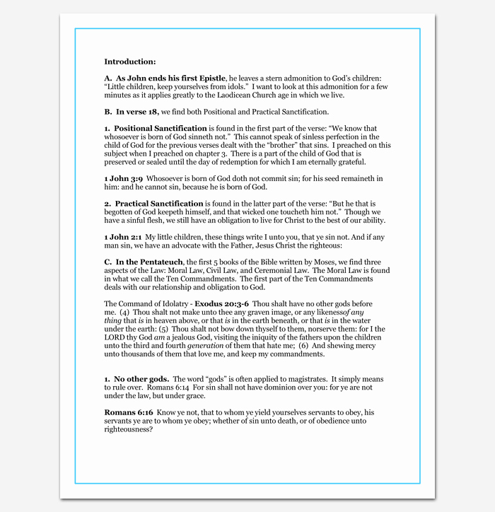 Sermon Outline Template 12 for Word and Pdf format