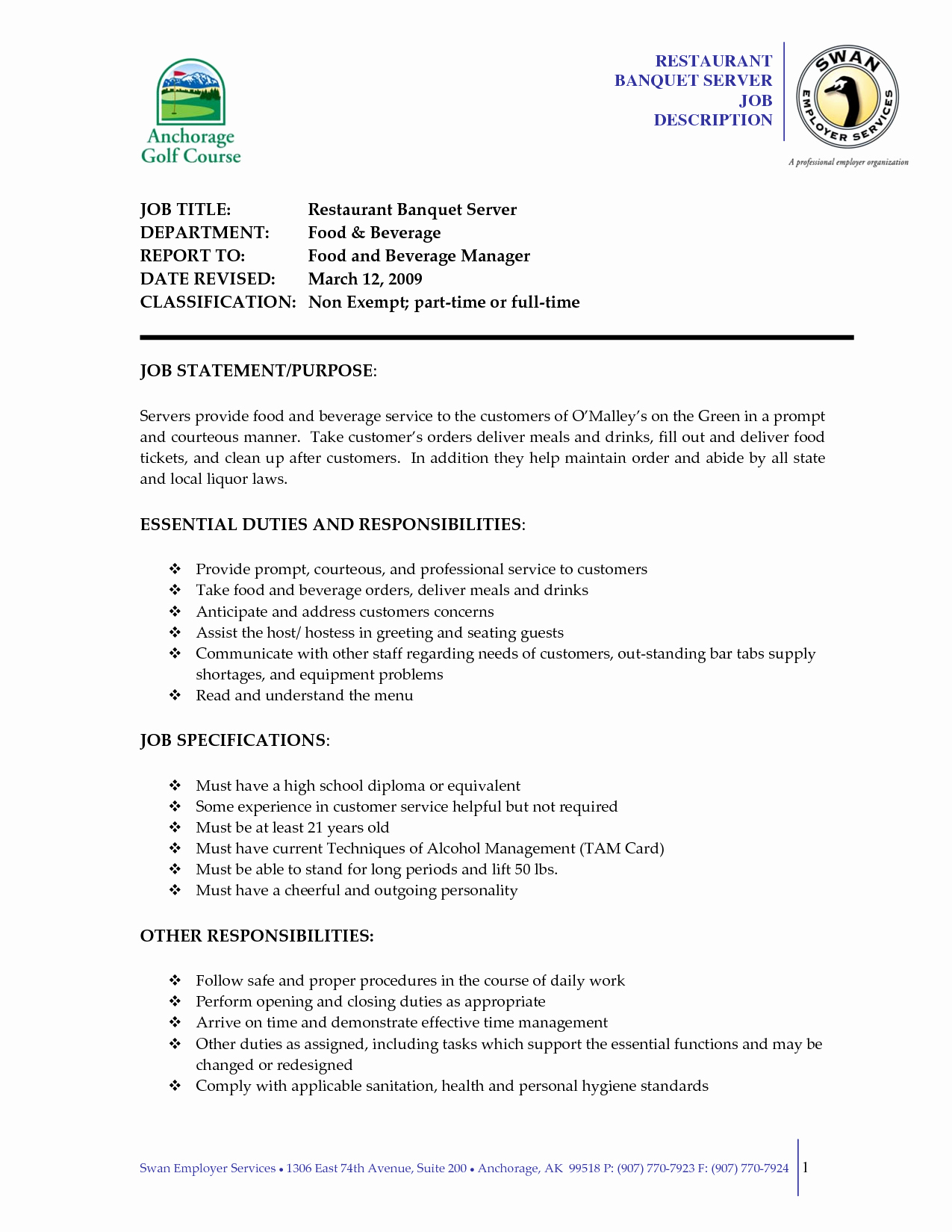 Server Job Duties for Resume Resume Ideas