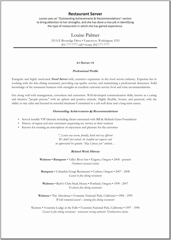Server Position Resume Experience Restaurant Server Resume
