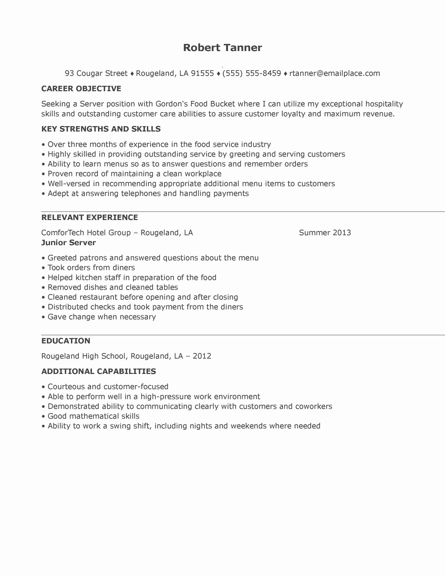Server Resume Samples Example Experience Restaurant