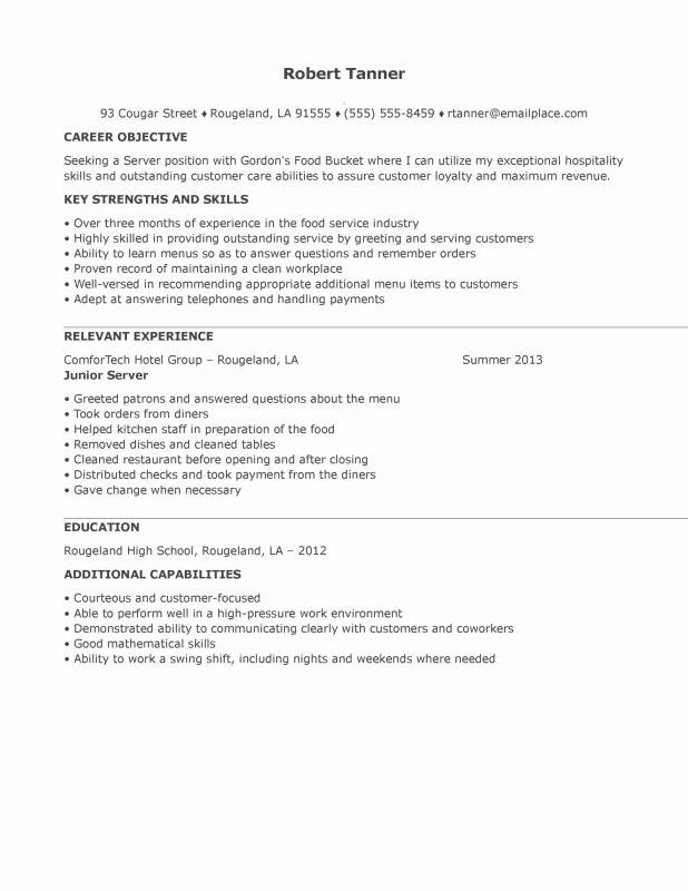 Server Skills Resume