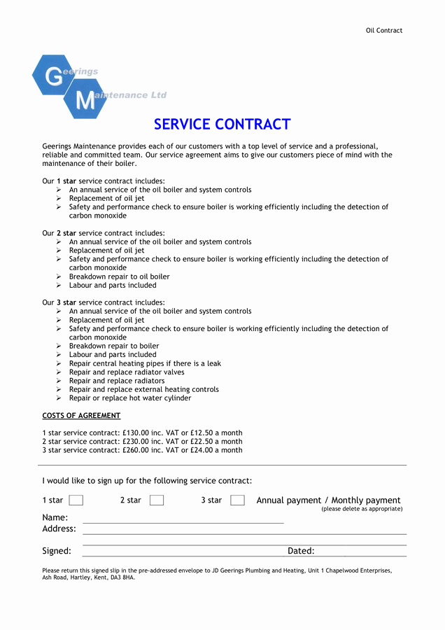 Service Contract Sample In Word and Pdf formats