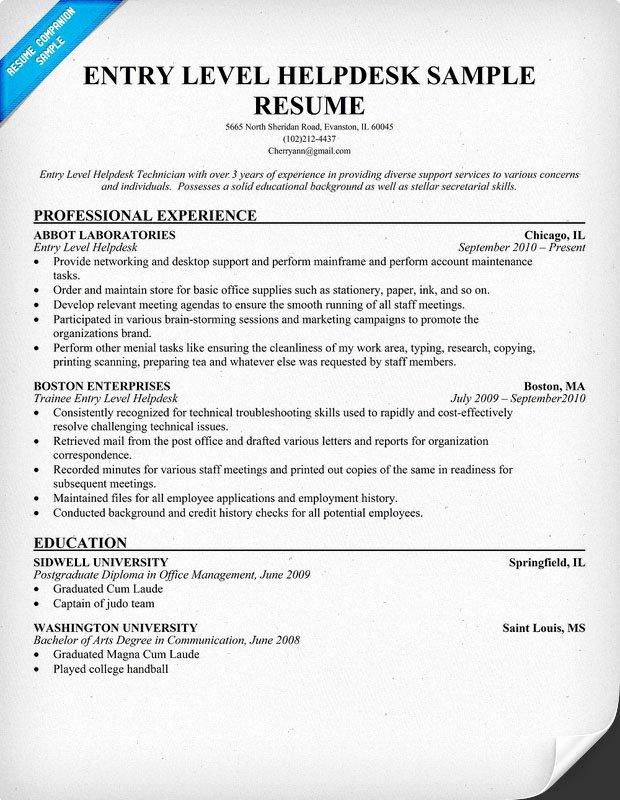 Service Desk Resume