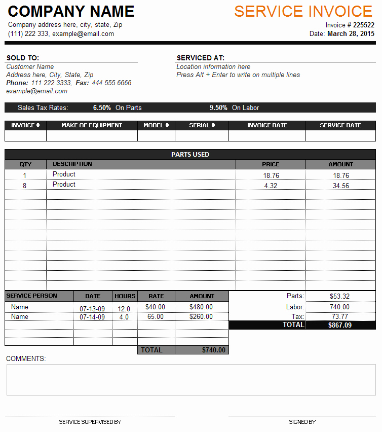 Service Invoice Template Perfect Business Invoice