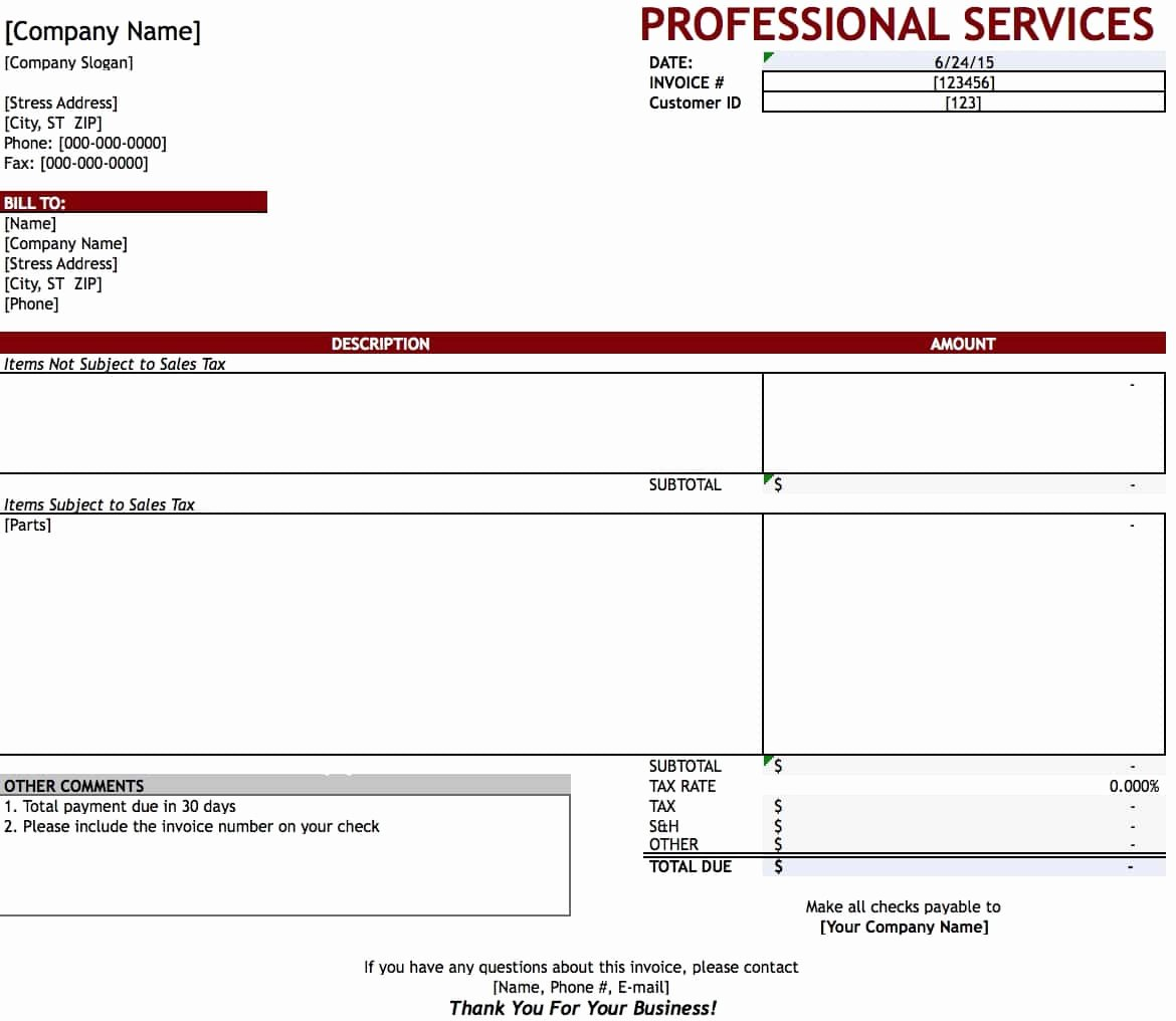 Service Invoice Template Word Invoice Design Inspiration