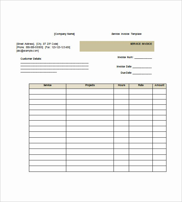 Service Invoice Templates – 11 Free Word Excel Pdf