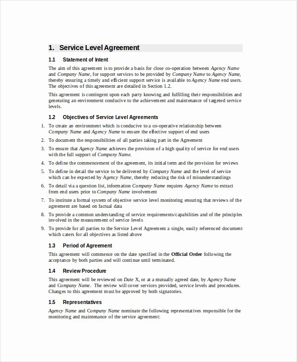 Service Level Agreement 18 Free Pdf Word Psd
