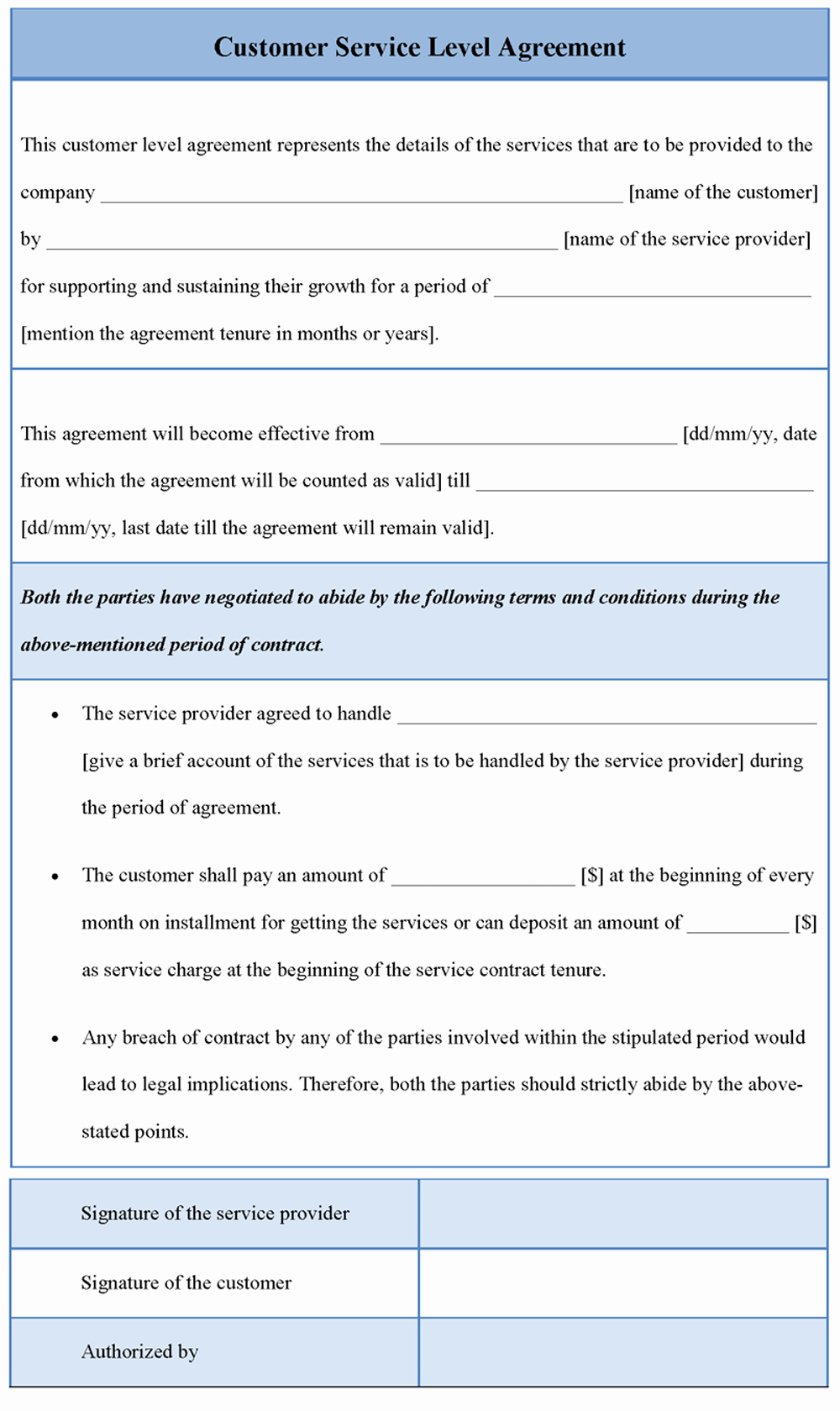 Service Level Agreement Template