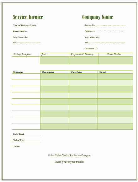 Service Receipt Template Service Invoice Template for