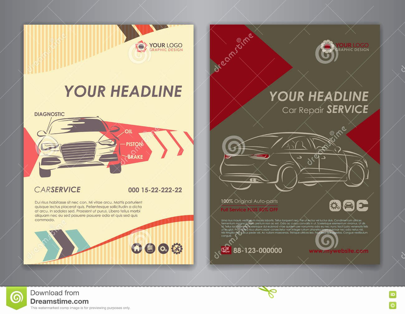 Set A5 A4 Service Car Business Layout Templates Auto