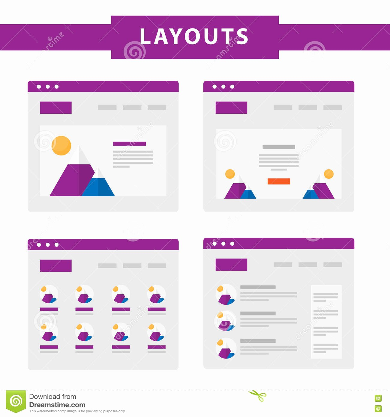 Set Simple Flat Website Templates Stock Vector Image