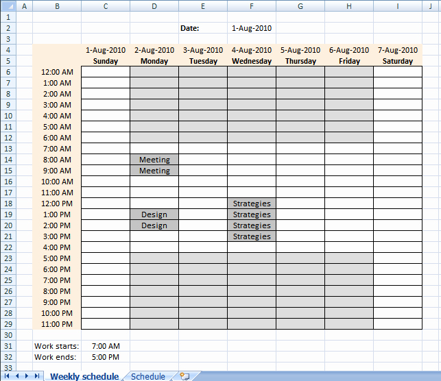 Setting Up Your Work Hours In A Weekly Schedule