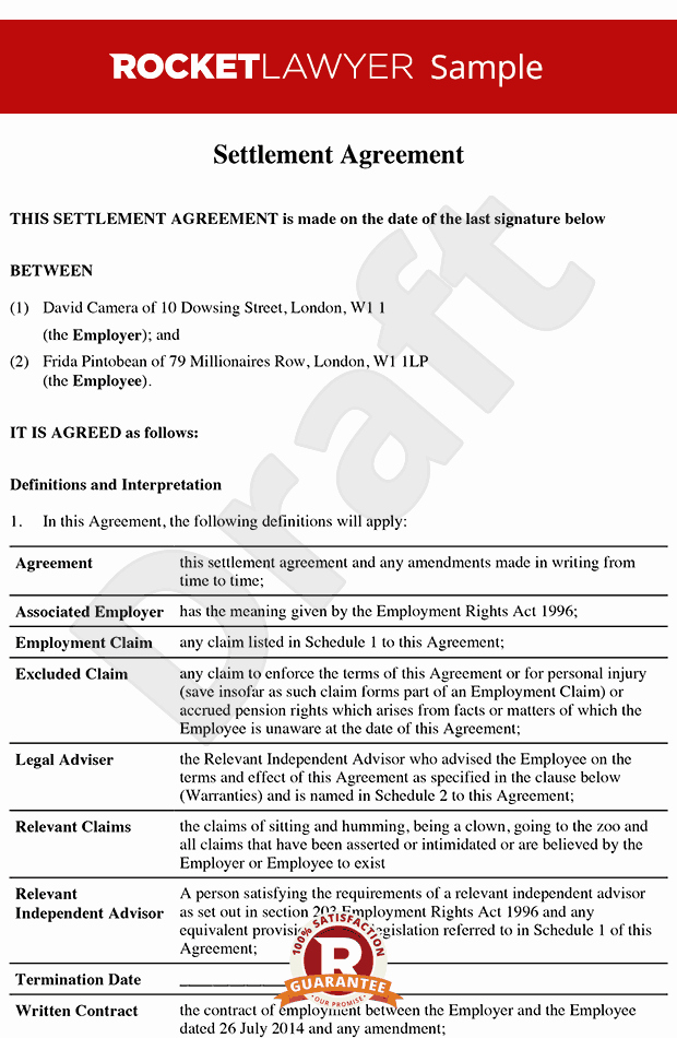 Settlement Agreement formerly Promise Agreement