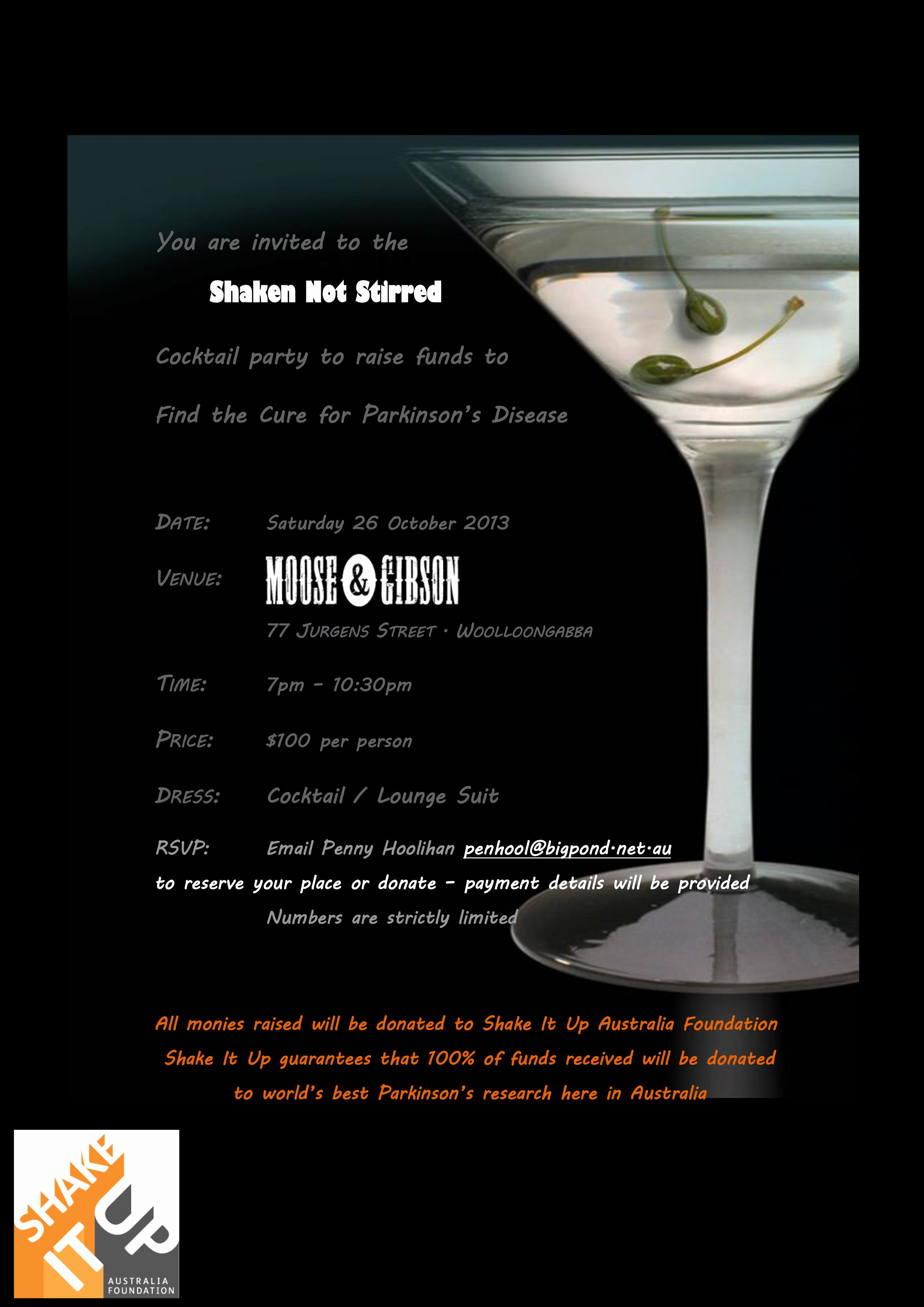 'shaken Not Stirred' Cocktail Party In Brisbane to Support