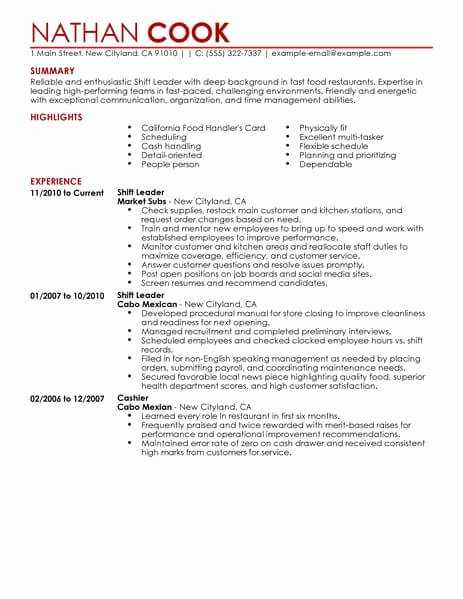 Shift Leader Resume Sample Leader Resumes