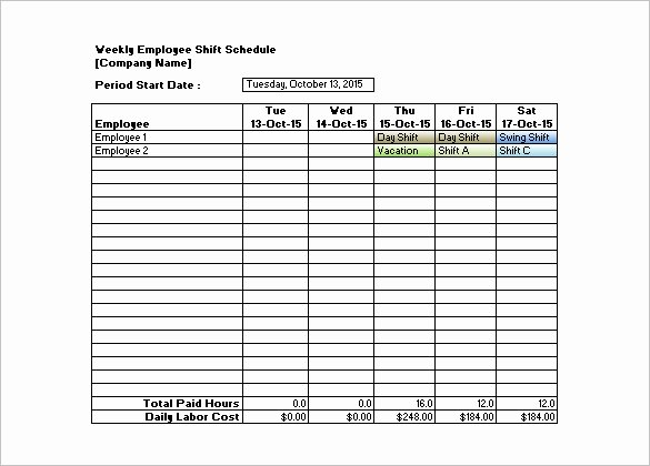 Shift Schedule Templates – 12 Free Word Excel Pdf