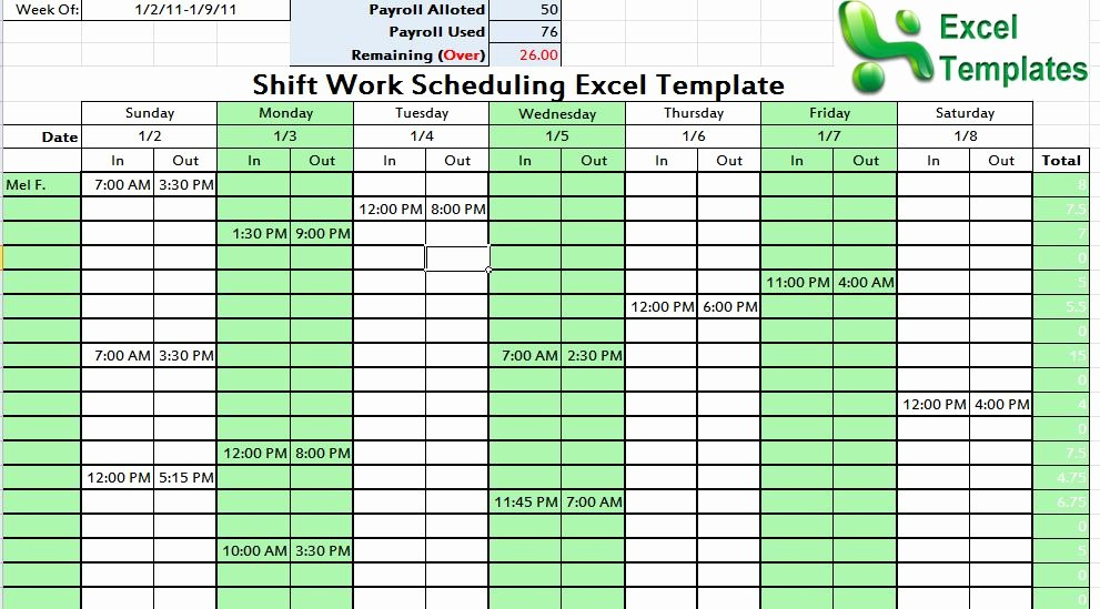 Shift Work Scheduling Excel Template