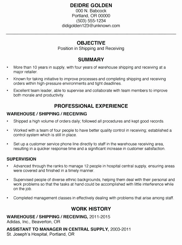 Shipping and Receiving Clerk Job Description for Resume