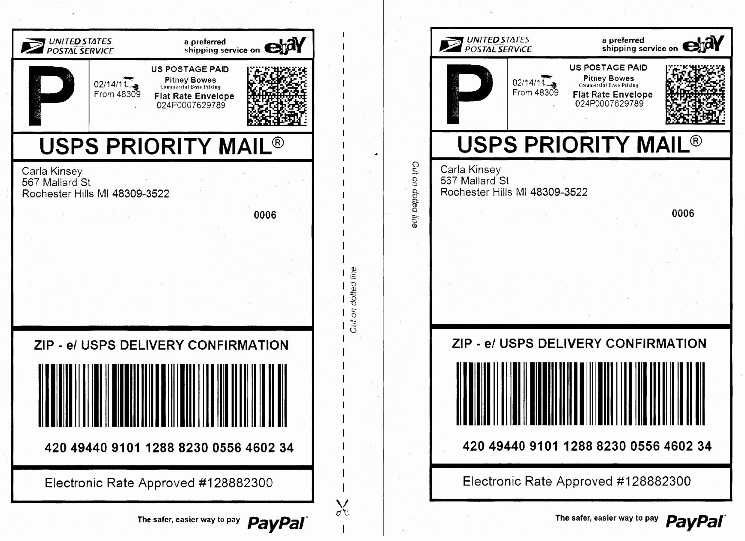 Shipping Label Template Usps