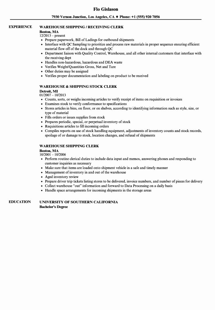 Shipping Receiving Clerk Cover Letter Resume and Examples