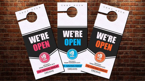 Shop Open Door Hanger Template Stationery Templates On