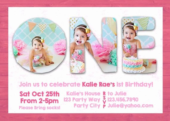 Shop Template First 1st One Birthday Invite