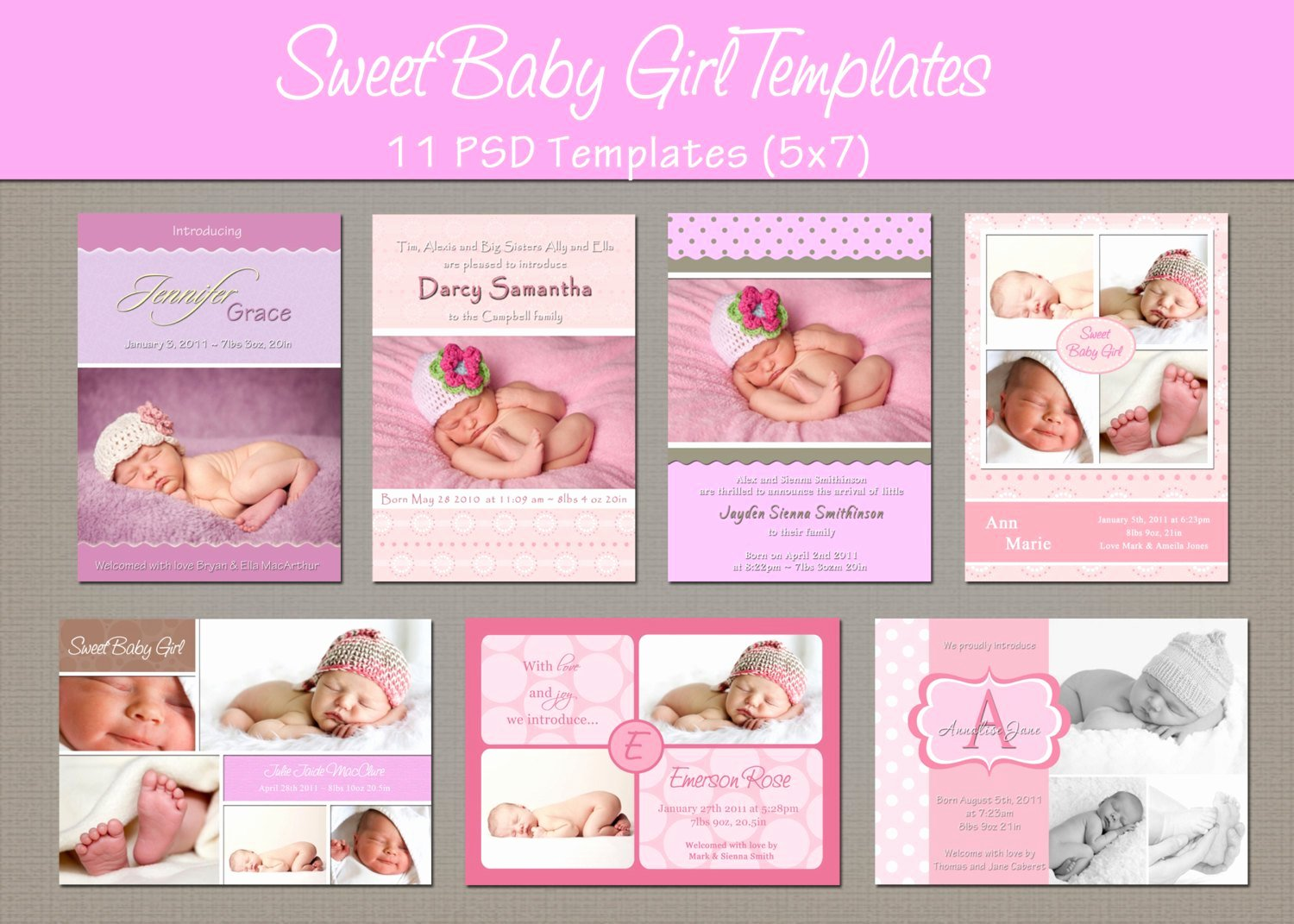 Shop Template for Baby Birth Announcement Moirenpo