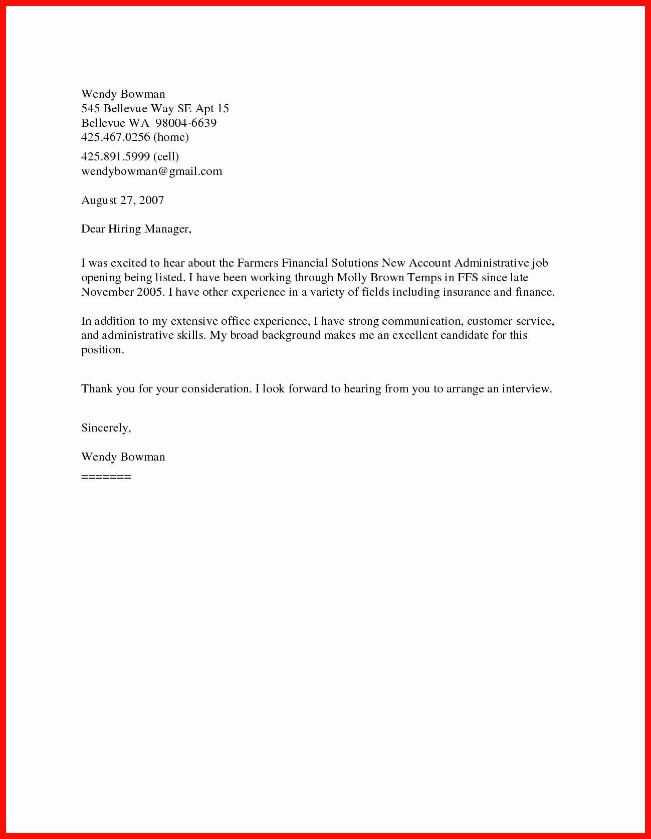 Short Cover Letter Sample