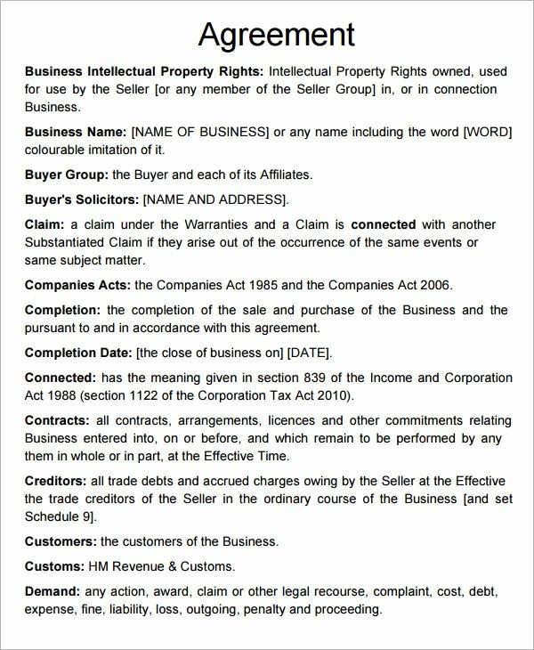 Short form asset Purchase Agreement