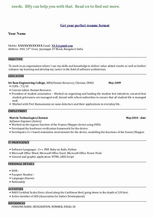 Show Me A Resume F Resume