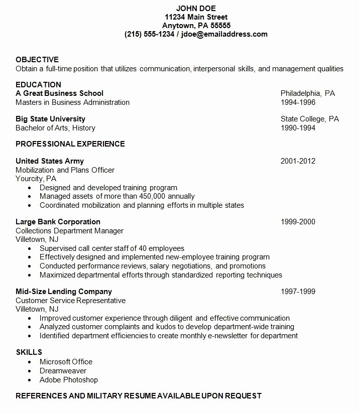 Show Me An Example A Resume