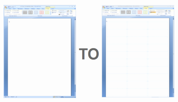 Showing Gridlines In A Ms Word Label Template