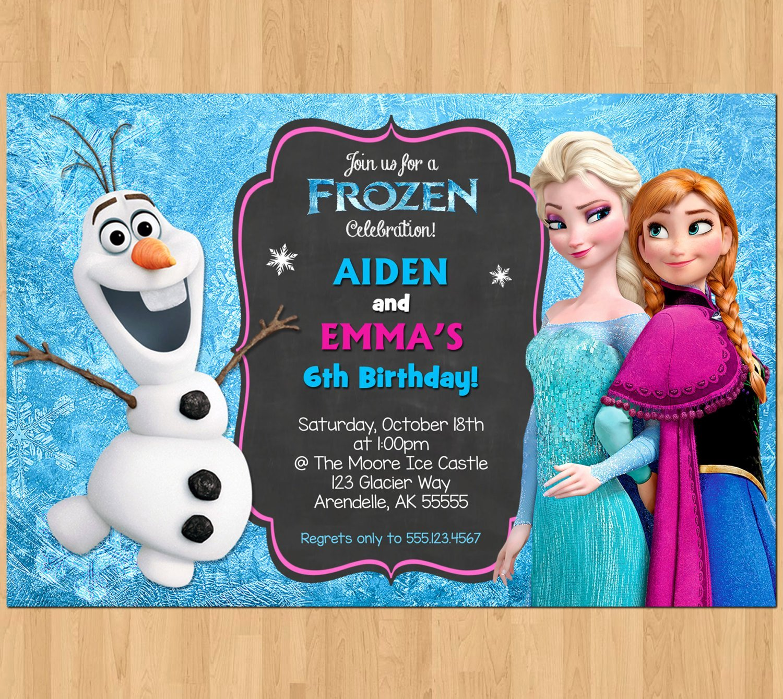 Sibling Birthday Invitation Frozen Invitation Olaf Elsa Anna