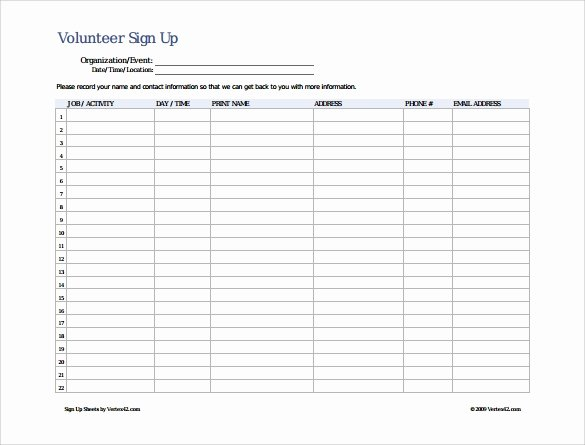 Sign Up Sheet Template 10 Free Samples Examples format