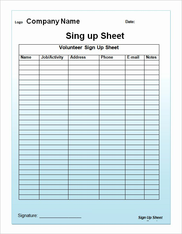 Sign Up Sheet Template 13 Download Free Documents In