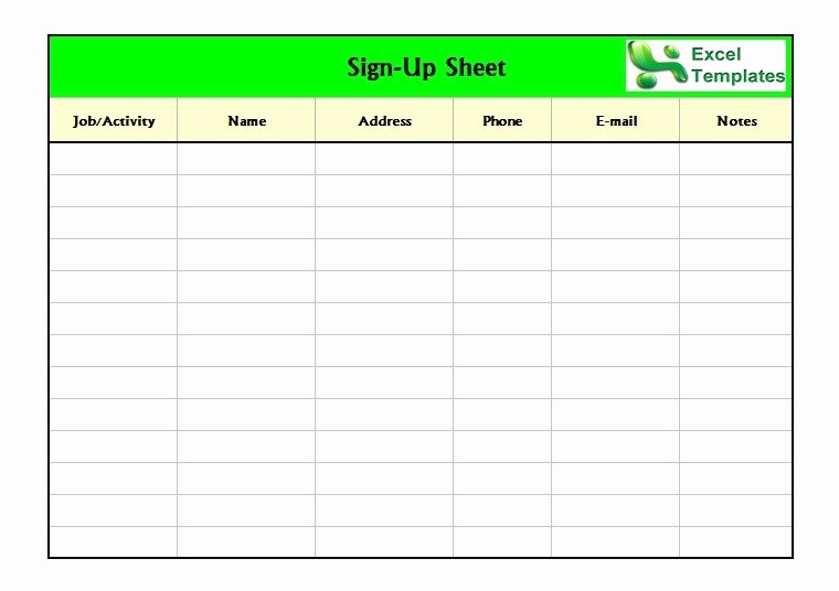 Sign Up Sheet Template