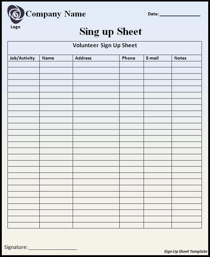 Sign Up Sheet Template