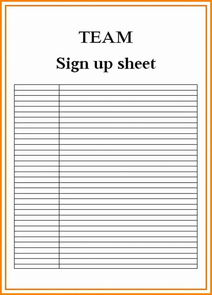 Sign Up Sheets Resume Trakore Document Templates