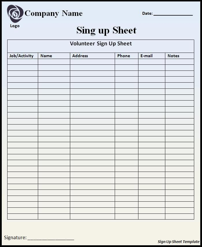 Signup Sheet Template