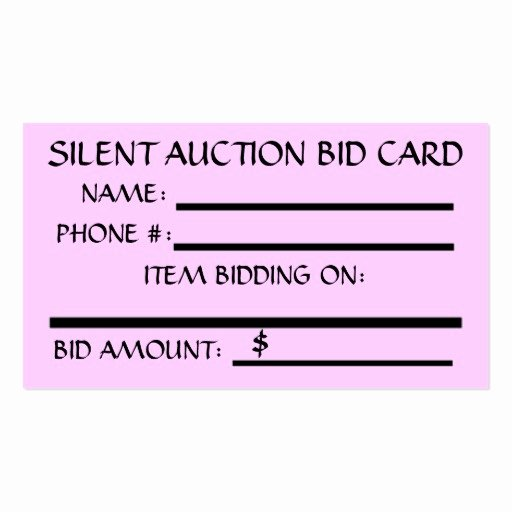 Silent Auction Bid Card Double Sided Standard Business
