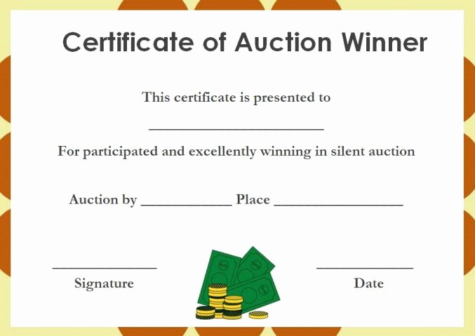 silent auction certificates