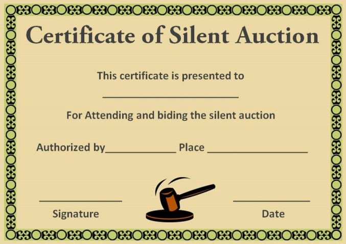 Silent Auction Certificates 18 Ficial and Beautiful