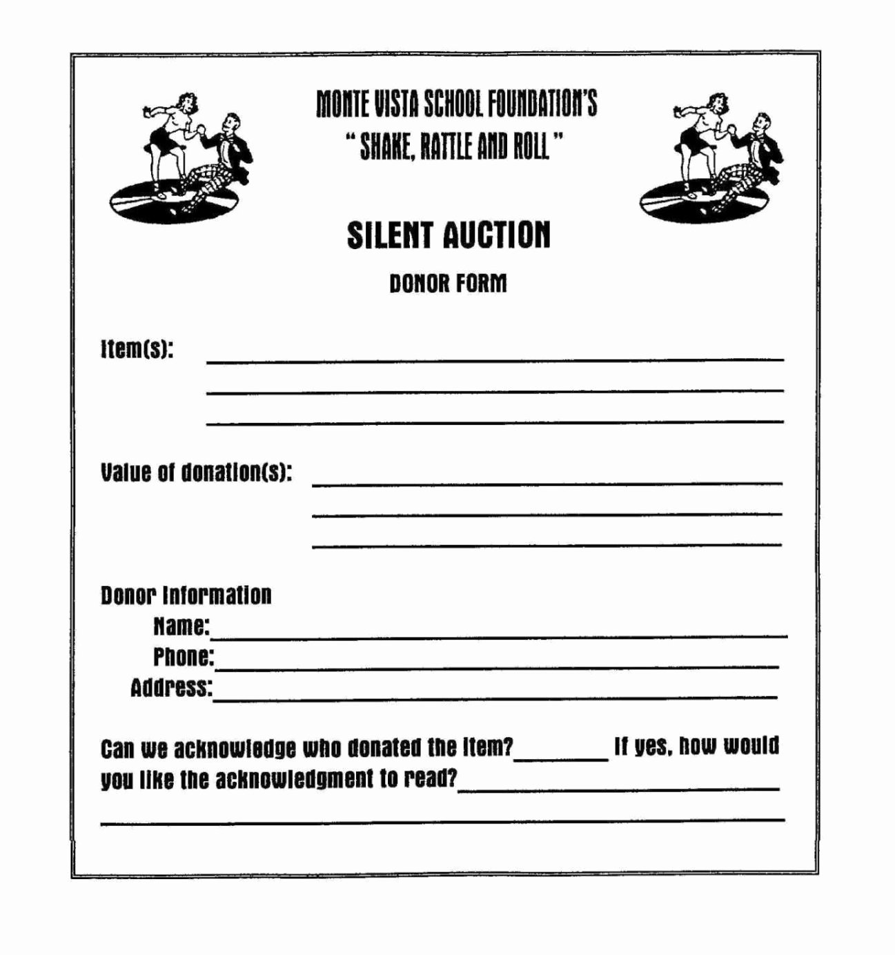 Silent Auction Donation form Template Sampletemplatess