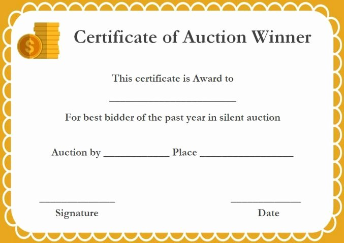 Silent Auction Winner Certificates