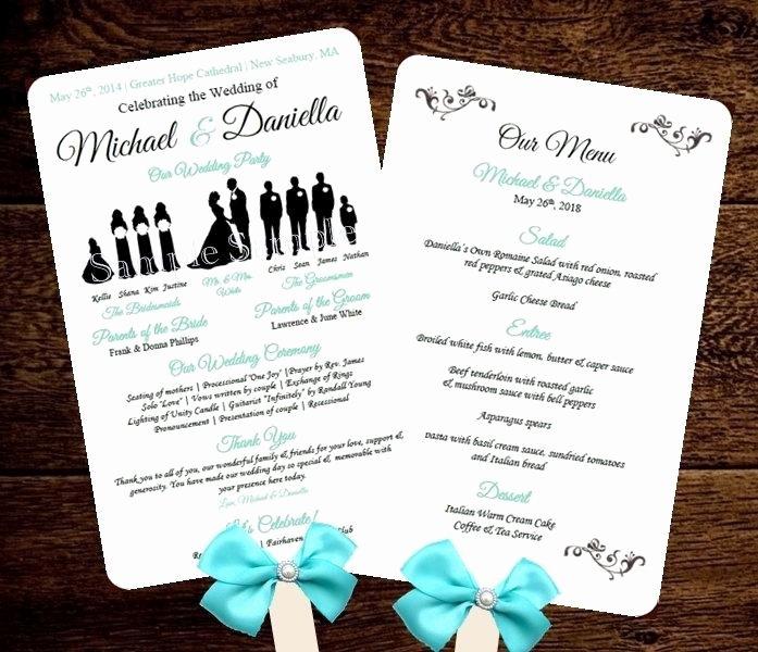 Silhouette Wedding Program Template Fan Menu Diy Choose