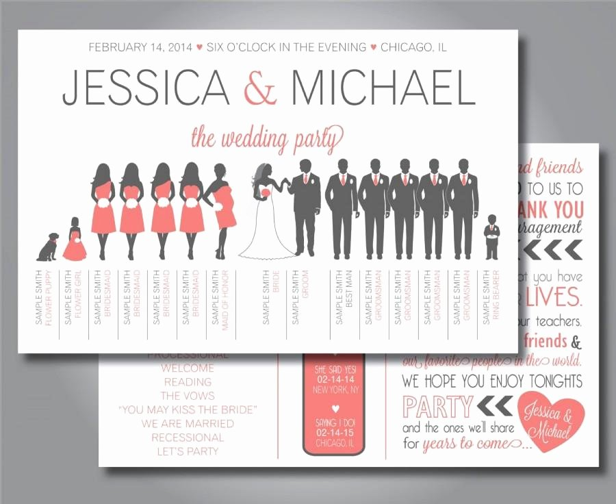 Silhouette Wedding Program Wedding Party Horizontal