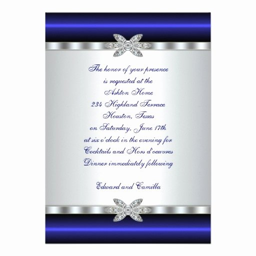 "Silver & Blue Cocktail Party Invitation Template 5"" X 7"