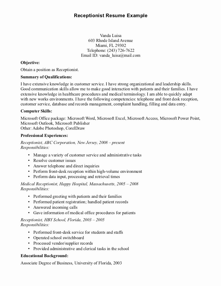 Simple and Basic Resume Sample for Receptionist with